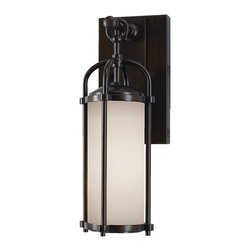 Feiss - Dakota Exterior Wall Lantern - Dakota Wall Lantern is available in four sizes.   Available with Espresso finish with White Opal glass or Heritage Bronze finish with Aged Oak glass.  Extra Small: One 100 watt, 120 volt A19/Medium base Incandescent lamp is required but not included. 4.750 inch width x  13.250 inch height x 5.750 inch depth.  Small: One 100 watt, 120 volt A19/Medium base Incandescent lamp is required but not included. 6.125 inch width x 16.875 inch height x 7.5 inch depth. Medium: One 150 watt, 120 volt A19/Medium base Incandescent lamp is required but not included. 7.625 inch width x 20.625 inch height x 9.125 inch depth. Large: One 150 watt, 120 volt A19/Medium base Incandescent lamp is required but not included. 9.5 inch width x 24.75 inch height x 11 inch depth.  Backplate measures 4.5W x 7.5H.  UL Listed for Wet Locations.