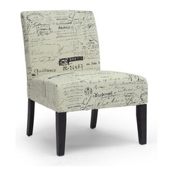 Wholesale Interiors - Phaedra French Script Modern Slipper Chair - Parlez-vous francais? Our Phaedra French Script modern slipper chair brings out the Francophile and fashion fanatic in us all via its black French script against beige background pattern and contoured legs. Foam cushioning and foam linen fabric offer comfort in a discount chair that easily stands alone as an accent in its own right.