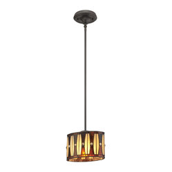 Quoizel - Quoizel QZ-TF1255PVB Tiffany Mini Pendants - Tiffany has inspired a variety of designs and Hammond embodies them seamlessly.  The glass shade, in an elliptical shape, showcases the round accents that adorn the shade, highlighting the gathered stripes all the way around.  Amber and cream hues complement the Vintage Bronze finish.