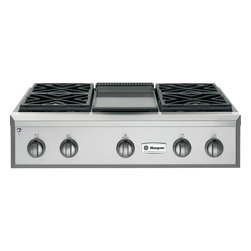 """GE Monogram - GE Monogram® 36"""" Professional Gas Rangetop with 4 Burners and Griddle (Natural G - Crafted of premium-grade stainless steel, professional gas Monogram rangetops have an overall look of sculptural sophistication. Offering commercial-grade cooking power with infinitely adjustable heat settings, a Monogram professional gas rangetop gives you carte blanche to indulge in all forms of experimentation."""
