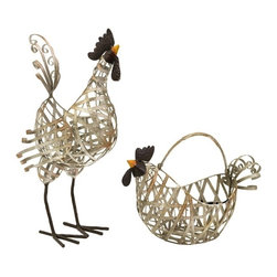 "IMAX CORPORATION - Gentry Wire Chicken and Basket - Set of 2 - Unique set of 2 wire chickens, featuring 1 that can be used as a basket. Set of 2 in various sizes measuring around 29.25""L x 20.5""W x 16.25""H each. Shop home furnishings, decor, and accessories from Posh Urban Furnishings. Beautiful, stylish furniture and decor that will brighten your home instantly. Shop modern, traditional, vintage, and world designs."