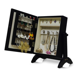 GLD - Jewelry Holder Jewelry Organizer Cosmetics Box Cabinet, Black & Nude - The Mini Style Mirror Jewelry Armoire is the perfect and fashion way to organize all your jewelry and accessories! Now you can store and organize all your jewlery and beauty essentails. No longer will mornings be a stressful hunt for matching earrings, bracelets, necklaces, now you will find them hanging at eye level. You will have fun adding your jewelry collection to this armoire. This item is MDF wood Material with painting,no halmful to health and environment. Small size design with free standing ,can put on your table