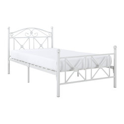 Cottage Bed Frame - Calming simplicity beams from the high gloss white finish of the Country Cottage Bed Frame. Upright metal posts topped with round ball finials add a quaint and relaxed look, while a peaceful header and footer have a lattice work design that speaks serene.