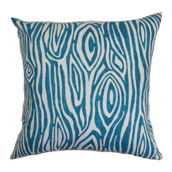 """The Pillow Collection - Thirza Swirls Pillow Aquarius Slub 18"""" x 18"""" - Bring a burst of color to your interiors by adding this major statement piece. This accent pillow brings texture and dimension to your sofa with its unique pattern. Set against a white background, the bold blue hue stands out. Update your decor in an instant with this fun square pillow. Explore other patterns to mix and match with this decor pillow. Measures 18"""" and crafted from 100% soft cotton fabric. Hidden zipper closure for easy cover removal.  Knife edge finish on all four sides.  Reversible pillow with the same fabric on the back side.  Spot cleaning suggested."""