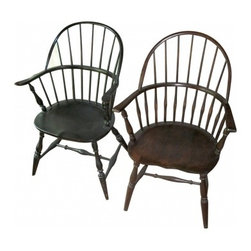 Windsor Chairs - Two non-matching American Windsor chairs. The other Windsor chair appears to be maple with no marking on the bottom.