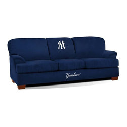 Imperial International - New York Yankees MLB First Team Sofa - Check out this GREAT First Team Sofa. It's super-comfortable and you won't want to get up from it. Your friends and family will enjoy hanging out watching the big game together at your place. It features team color microfiber and embroidered patch logos to display your favorite team perfectly. Handcrafted by North Carolina craftsmen, this sofa will surely be part of your game day festivities for years to come. This is a true statement piece that is perfect for your Man Cave, Game Room, basement or garage.