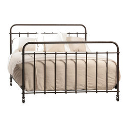 Baldwin Queen Iron Bed, Iron - A striking traditional focus for the bedroom, this Baldwin iron bed presents the perfect look for your room. The traditional style of the iron frame bed creates an open, airy feel that is a wonderful choice in smaller rooms. The iron has a lovely, authentically vintage finish in keeping with the antique look of the bed.