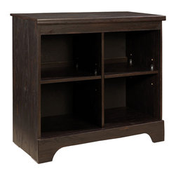 Standard Furniture - Standard Furniture Hideout Open Display Cabinet in Dark Pecan - Hideout combines handsome transitional styling with well planned function, great storage options, and the flexibility to create customized room arrangements - all wishes of youth and parents today.