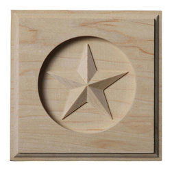"Ekena Millwork - 4 1/4""W x 4 1/4""H x 3/4""P Austin Star Rosette, Alder - Our rosettes are the perfect accent pieces to cabinetry, furniture, fireplace mantels, ceilings, and more.  Each pattern is carefully crafted after traditional and historical designs.  Each piece is carefully carved and then sanded ready for your paint or stain.  They can install simply with traditional wood glues and finishing nails."
