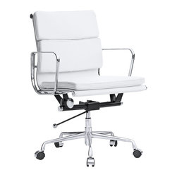 "Kardiel Classic 1969 Executive Soft Pad Mid Back Aluminum Office Chair, White It - The iconic office chair series from which this Kardiel Executive Padded Mid Back reproduction takes its inspiration was originally developed in 1969. The seat and back support features a continuous section of Italian Leather upholstery stretched taut between two metal ribs. If it sounds similar to the 1958 lider series it is. The main difference is the individual ""floating"" cushion pads which are hand stitched onto the back and seat. The Mid Back version features a lower profile back height with 2 attached ""floating"" pads and 1 seat pad cushion added for additional comfort and support. Genuine Italian Leather was selected as the upholstery of choice for this reproduction.  None of the details were overlooked, from the distance of the ribbed stitching to the period correct Atomic metal ball of the height adjusting lever. We understand and offer you the intricacies of the original office series design in this quality reproduction."