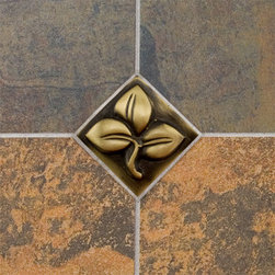 """2"""" Solid Brass Wall Tile with Clover Design - Burnished Brass - Use this 2"""" solid brass tile to create an eye-catching backsplash in your kitchen or add interest to your bathroom tile.  Design a unique pattern with several tiles for a look that is completely custom."""
