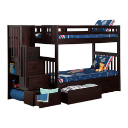 Cascade Staircase Bunk Bed Twin over Twin / Storage Drawers / Espresso - Features: