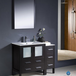 "Fresca - Fresca Torino 42"" Modern Bathroom Vanity w/ One Side Cabinet & Integrated Sink - - Fresca is pleased to usher in a new age of customization with the introduction of its Torino line. The frosted glass panels of the doors balance out the sleek and modern lines of Torino, allowing it to fit perfectly in both 'Town' and 'Country' décor.The Fresco Torino bathroom vanity is 42"" wide and 33.75"" high, and boasts 18.13"" deep under-sink storage space – perfect for towels and other bathroom necessities. This bathroom vanity is completed with a 20.75"" wide x 31.5"" high x 1.25"" deep wall mounted mirror for optimal function and style.Items included: Main Vanity Cabinet(s), Countertop(s), Vessel/Integrated Sink(s), Mirror(s), Faucet(s), P-Trap and Pop-Up Drain(s), Standard hardware needed for installation.DecorPlanet is proud to offer Fresca Bathroom products. Fresca is a leading manufacturer of high-quality vanities, accessories, toilets, faucets, and everything else to give you the freshest bathroom in the neighborhood. Fresca is known for carrying the latest and most popular styles in modern and contemporary bathroom design that are made with high quality materials and superior workmanship."