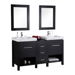 "Design Element - Design Element New York 60"" Espresso Modern Double Sink Vanity Set - Open storage, cabinet space, and drawers - the versatile 60"" New York vanity set has it all. And with straight lines, elevated drop-in sinks, and high visual contrast, the New York will stand out in any modern bathroom setting.Naturally, the New York is also built to the typical standard of Design Element products, which means using solid hardwood construction for the entirety of the base, porcelain countertops and integrated sinks, water-resistant lacquer finish, included mirrors and drains, and a pre-built cabinet base."