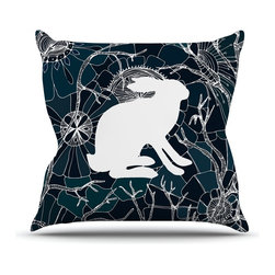 "Kess InHouse - Anchobee ""Hare"" Blue White Throw Pillow (20"" x 20"") - Rest among the art you love. Transform your hang out room into a hip gallery, that's also comfortable. With this pillow you can create an environment that reflects your unique style. It's amazing what a throw pillow can do to complete a room. (Kess InHouse is not responsible for pillow fighting that may occur as the result of creative stimulation)."