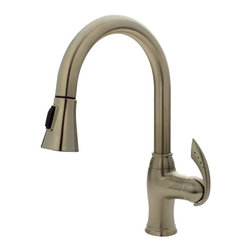 "MR Direct - MR Direct 772-BN Brushed Nickel Pull Down Kitchen Faucet - The 772-BN Single Handle Pull-Down Kitchen Faucet has a one or three-hole installation option and is also available in a chrome or oil-rubbed bronze finish. It contains a multi-function spray head with a 56"" metal hose and is ADA approved. A matching base plate is available with this faucet that will have a corresponding finish. The dimensions for the 772-BN are 2 1/4"" x 15"" with a 9"" spout reach. This faucet is pressure tested to ensure proper working conditions and is covered under a lifetime warranty. The 772-BN is sure to add functional style to any kitchen sink."