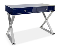 Kathy Kuo Home - Keating Hollywood Regency Navy Blue Lacquer Stainless Steel Desk - Unleash your creative and intellectual genius when you sit behind this sleek, slim desk. Minimalists will love the silver crosshatch sides and open architecture.  The navy blue lacquered desktop provides ample space for ledgers, sketches and your laptop. Two slim drawers hold your stash in style.