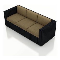Urbana Modern Wicker Sofa, Charcoal Cushions
