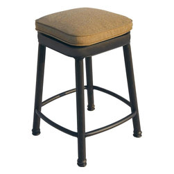Darlee - Darlee Square Backless Counter Height Bar Stool - Enjoy the finest in quality patio lounging with quality patio furniture. Bring life to your outdoor seating area with this cast aluminum Darlee patio counter height bar stool. This bar stool features an antique bronze finish coupled with a comfortable cushion. The cast aluminum patio bar stool is constructed using innovative designs, superior aluminum metals and meticulous construction. Has constructed this counter height patio bar stool to withstand the elements, boasting a never-rusting finish that perfectly complements any patio area.