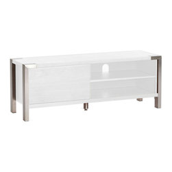 Moe's Home Collection - Winton TV Table Small Shinny White Lacquer - Comes with pre-drilled holes for wire management.