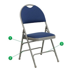 Flash Furniture - Flash Furniture Folding Chairs Large Metal Folding Chairs X-GG-YVN-3-FA507CM-AH - This Triple Braced Plush Comfort HERCULES Folding Chair provides superior support and comfort. This portable folding chair can be used for Parties, Graduations, Sporting Events, School Functions and in the Classroom. This chair will be the perfect addition in the home when in need of extra seating to accommodate guests. When no longer needed, simply fold away as a compact storage solution. This economically priced chair will endure some heavy usage with an 18-gauge steel frame, triple braced and leg strengthening support bars. [HA-MC705AF-3-NVY-GG]