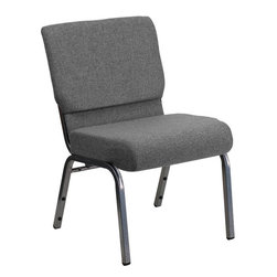 "Flash Furniture - Hercules Grey Church Chair with 3.75"" Thick Seat - Silver Vein Frame - This Hercules Series Church Chair will add elegance and class to any Church, Hotel, Banquet Room or Conference setting. If you are looking for a chair with comfort and style that is easy to move and stores away with ease, then look no further. This built to last chair has a 16-gauge steel frame that has been tested to hold 800 lbs. This church chair features double support bracing, ganging clamps, a cushion that graduates to a 5 in.  thick waterfall edge and plastic floor glides to protect non-carpeted floors. Our church chair is manufactured by one of the most reputable stack chair manufacturers in the industry, you can be assured of the quality of this chair offered to you."