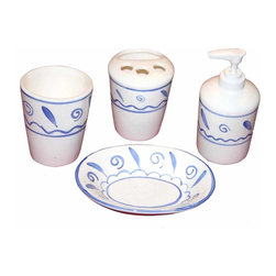 Renovators Supply - Bath Organizers Blue Ceramic Bathroom Accessory 4 pc. set Neptune - Bathroom Accessories: Neptune bathroom accessory set comes as a set of 4 pieces. It includes a soap dish, soap dispenser, tumbler and a toothbrush holder (holds 3 toothbrushes and toothpaste tube). The design features a sea blue design on a white glazed ceramic background.