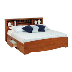 """Prepac - Prepac Monterey King Bookcase Platform Storage Bed in Cherry - Prepac - Beds - CBK8400KIT - Enjoy floor space and storage with the King Mates Platform Storage Bed with 6 Drawers. At 18""""� deep its six drawers can store any clothing linens and blankets that go in a traditional chest without taking up more room in your bedroom. With three drawers on each side there's room for everyone's stuff. Don't worry about a box spring: the slat support system needs only a mattress. Sleekly designed and practical this mates bed lets you get the most out of your king-sized mattress. Complement with the free-standing King Bookcase Headboard which has six storage compartments for your beside necessities and accessories. The varying compartment sizes add visual appeal and give you display options for large and small items. Each piece has a 5-year manufacturer's limited warranty on parts and is proudly manufactured in North America."""