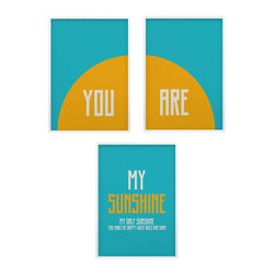 You are my sunshine nursery wall art set of three prints, 11x14 - you are my sunshine- so many of my smiles begin with you-you make me happy when skies are gray nursery art set.