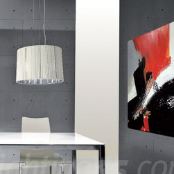 Axo - Obi 43 suspension light - The Obi 43 suspension light collection has chromeplated fittings. The lampshades and the canopies consist of silken ribbons available in a choice of ivory, black, white or tobacco and of a semi-reflecting chrome-plated finished sheet inside.
