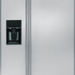 "GE Monogram - GE Monogram® 42"" Built-In Side-by-Side Refrigerator with Dispenser - Monogram built-in side-by-side refrigerators are among the largest-capacity built-in refrigerators available. Like commercial refrigerators, Monogram built-in side-by-side refrigerators use an overhead evaporator system. This allows independent cooling of the freezer and fresh food compartments—giving you greater temperature control, while eliminating the transfer of moist air and food odors."