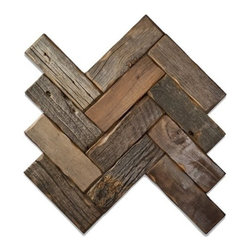 E&S - Reclaimed Wood Tile - Herringbone - GunStock, Natural, 1 Square Foot - We are proud to offer reclaimed Barnwood Wall Planks. Leading interior designers have indicated that while everyone loves the look of barnwood in the home, the material is incredibly hard to work with in its natural state. One of the hardest challenges of getting Barnwood on the wall has always been the intense amount of labor it takes to get 100 year old wood to look good on the wall. Barnwood Wall Planks are a simple wood panel solution to achieve an incredible look! Installed just like your regular tile, this great wood panel product offers the opportunity to create a Barnwood Plank wall at an affordable price. They come ready for immediate installation!