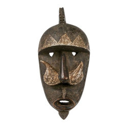 Hand Carved Wood Mask From Burkina Faso - Antique hand carved wood tribal mask from Burkina Faso, Africa. Brown with white paint details. Hang it in your library like a true world traveler!