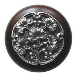 "Notting Hill - Notting Hill Ginkgo Berry/Dark Walnut Wood Knob - Antique Pewter - Notting Hill Decorative Hardware creates distinctive, high-end decorative cabinet hardware. Our cabinet knobs and handles are hand-cast of solid fine pewter and bronze with a variety of finishes. Notting Hill's decorative kitchen hardware features classic designs with exceptional detail and craftsmanship. Our collections offer decorative knobs, pulls, bin pulls, hinge plates, cabinet backplates, and appliance pulls. Dimensions: 1-1/2"" diameter"