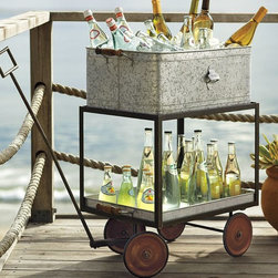 Galvanized Metal Rolling Wagon Party Bucket - Serving drinks from this cute rolling cart would add a touch of whimsy to your party space.