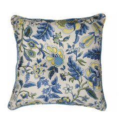 Waverly - Imperial Dress Porcelain Garden Path 18-Inch Square Button Tufted Pillow - - Imperial Dress Porcelain is a classic Waverly pattern, inspired by classical Jacobean patterns and styled with a modern twist.   - The porcelain color story is exemplified here in bright blue and white with soft green and warm yellow accents.   - The main pattern is printed on 100% cotton floral jacquard providing added texture on the comforter and shams.   - Coordinating Garden Path stripe in Bluebell is used for the comforter reverse and tailored bedskirt.   - The accessory pillows are opulently embellished with multi-color twisted braid and moss fringe.   - Lined drapery panel pair with tie backs, and coordinating window valance complete the bedroom ensemble.   - Use a 2 _? rod to hang drapery through easy to thread rod-pocket or back-tab top treatments.   - The collection offers a mix and match versatility with florals reversing to stripes allowing you to instantly change your bedroom look.   - Machine wash.   - Imported.   - Decorative objects not included.   - Garden path 18 square button tufted pillow only, all other coordinating items sold separately. Waverly - 10168018018PO