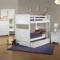 Homelegance - Homelegance Sanibel 3 Piece Bunk Bed Kids' Bedroom Set in White - As breezy as a day at the beach  the modern cottage styling of the Sanibel Collection will meld effortlessly with your casual personal style. Diamond overlay curves throughout the entire collection - capping the headboard then carrying on to the gracefully bowed case pieces. The versatility of the design lends to the perfect placement in a master suite  guest or child's bedroom. The collection is offered in Black or White.