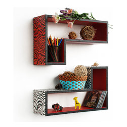 Blancho Bedding - [Enjoyable Life] Gun-Shaped Leather Wall Shelf / Floating Shelf (Set of 2) - These beautifully crafted L Shaped Wall Shelves display the art of woodworking and add a refreshing element to your home. Versatile in design, these leather wall shelves come in various colors and patterns. They spice up your home's decor, and create a multifunctional storage unit for all around your home. These elegant pieces of wall decor can be used for various purposes. It is ideal for displaying keepsakes, books, CDs, photo frames and so much more. Install as shown or you may separate the shelves to create a layout that suits your taste and your style. Each box serves as a practical shelf, as well as a great wall decoration. Each measures approx. 19.7(W) x 11.8(H) x 5.9(D) inches, Thick: 0.6 inches.