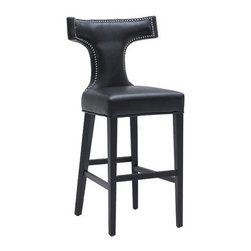 """Sunpan Modern - Serafina Bonded Leather Stool - Features: -Serafina collection. -Finish: Matte black. -Material: Bonded leather. -Frame: Solid wood. -European designed counter stool features silver nail head trim that adds regal flair. -For restaurant and contract applications. -Seat height: 26"""". -Please note that although every attempt has been made to ensure accuracy, all dimensions are approximate and colors may vary. -This item is deemed acceptable for both residential and nonresidential environments such as restaurants, hotels, lounges, offices and reception areas. Please note that this item carries the manufacturer's standard ONE YEAR WARRANTY from the date of purchase. Please contact Wayfair customer service or sales representatives for further information.  Dimensions:  -Counter: 38""""H x 22""""W x 22""""D. -Bar: 44""""H x 22""""W x 22""""D."""