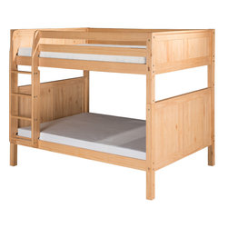 """Camaflexi - Full over Full Bunk Bed with Panel Headboard - Natural Finish - What do you do when the family is growing, your space is not, and a standard twin size bed just doesn't work anymore for your growing kids? Take a look at our Full over Full size, ultra durable, Bunk Beds. It may just be the perfect solution! Constructed of solid wood, the upper bunk features front and rear safety guard rails. Both beds include roll slat foundations, reinforced with our unique, extra sturdy, dual center rail support system. The durable extra wide step angle floor ladder guarantees maximum security and longevity. All our Bunk Beds are built to meet and exceed all government and industry safety standards for your ease of mind. The classic Panel style, with our """"child-safe"""", multi step protective finish, will complement any bedroom decor. Optional under bed trundle and/or storage drawers add to this bunk's utility. Choose between open or closed foot boards with the addition of modesty panels. When needed the bunk can be separated into two full size beds. Flexibility is what we are all about. The Camaflexi system offers the best in sturdy, eco-friendly and healthy furniture for your growing child's needs.; Constructed of 100%, all natural, solid wood.; Both beds include a slat roll foundation, with our unique extra sturdy dual center rail support system.; Child-Safe protective finish compliant with US Federal Hazardous Substances Act.; Features our unique extra deep grooved steps on ladder for added safety and comfort when climbing.; Meets and exceeds all ASTM and U.S. Government safety standards for Bunk Beds.; Covered by our One Year, Peace of Mind warranty, covering manufacturing related defects.; Verifiable sustainable wood source make it both Eco friendly and healthy.; Under bed clearance from bottom of bed rail is 11 1/2"""".; Clearance between top and bottom bed is 36"""".; Takes standard full size mattress. Mattress not included.; Child-Safe protective finish compliant with US"""