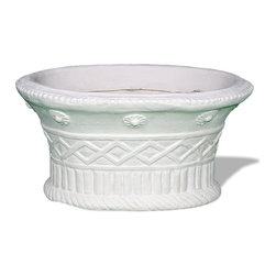 Amedeo Design, LLC - USA - Mediterenian Oval Planter - This Mediterranean Oval Planter is truly ancient in design, yet it is still applicable for any modern setting. This oval planter has a complex design of basket weave, roped bottom rim and small medallions adorning the upper rim. Though they look like ancient European & Mediterranean designs in carved stone, our products are made of lightweight weatherproof ResinStone. Made in USA.