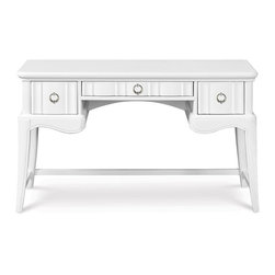 Magnussen Furniture - Gabrielle Wood Desk - Constructed from Hardwood solids, Crystal buttons, Pewter hardware, Fabric. Drawers feature ball-bearing side metal guides. Desk features 3 drawers with center drop down drawer. Pewter Hardware. Snow White Finish. Hardwood Solids, Fabric, Crystal buttons and pewter hardware. Snow White Finish. 1 Year Limited Warranty. 50 in. W x 18 in. D x 30 in. H (84 lbs.)Suddenly, a perfectly posh room no longer requires a ridiculously posh price. Our high personality Gabrielle collection is packed with boutique styleand built to last longer than the latest fad. Crafted of hardwood solids and featuring crystal accents this collection is perfect for your little princess.