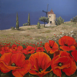 "Windmill and red Poppies in Provence, Original large scale painting. - ""Windmill in Provence"" is an extra large canvas of 48""x50""."