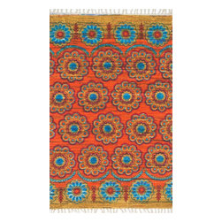 """Loloi Rugs - Loloi Rugs Aria Collection - Orange / Multi, 1'-8"""" x 3' - Expressive and relaxed, stylish and fun. The Aria Collection from India has it all. Pretty paisley patterns, flourishing flowers, dreamy damasks and magical medallion designs are printed onto 100% recycled cotton Chindi for scatter rugs that are flirty and fashionable. Dressed in a palette of bold, saturated colors that take you from cool blues and pinks to warm spice tones and modern tropical hues, too, Aria rugs come in select scatter sizes that will accent choice spaces with flair."""