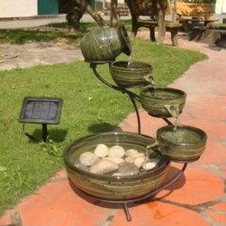Smart Solar - Smart Solar Green Bamboo Cascade Solar Fountain -