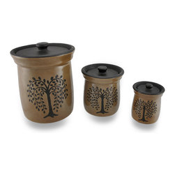 Zeckos - Crackled Finish Brown Olive Tree Porcelain Canisters Set of 3 - This set of 3 brown porcelain canisters will add a decorative touch while providing extra storage space whether they are filled with flour and sugar or spare change and pens. Made from porcelain with a crackled glazed finish, each feature an embossed image of an artistic olive tree, and include a complementing textured lid. The largest measures 8 1/2 inches (22 cm) tall and 6 7/8 inches (17 cm) diameter, the medium measures 5 1/2 inches (14 cm) tall and 4 7/8 inches (12 cm) diameter, and the smallest is 4 1/4 inches (11 cm) tall and 3 3/8 inches (9 cm) diameter. This set of 3 storage canisters would make a wonderful housewarming or wedding gift sure to be enjoyed