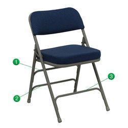Flash Furniture - Hercules Series Premium Curved Triple Braced and Quad Hinged Navy Fabric - The Triple Braced Hercules Series Folding Chairs are our best folding chairs ever. When in need of temporary seating this heavy duty gray metal frame chair with navy fabric padded seat and back is perfect. This portable folding chair can be used for Parties, Graduations, Sporting Events, School Functions and in the Classroom. This chair will be the perfect addition in the home when in need of extra seating to accommodate guests. The chair will not take up anywhere near as much space as chairs that cannot fold when it comes time to clean up. This economically priced chair will endure some heavy usage with an 18-gauge steel frame, triple braced and leg strengthening support bars.