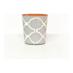 Acadia Gray and Cream Wastebasket - If you choose a floral wallpaper, this geometric trashcan would be a great complement.