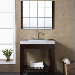 Xylem Europa 36-in. Single Bathroom Vanity with Stone Top and Optional Mirror