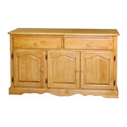 Sunset Trading - Eco-Friendly 2-Drawer Buffet - Three raised panel cathedral arch doors with adjustable shelf. Large drawers with round knob handles for easy sliding. Scalloped apron trim at bottom of base. Sturdy quality craftsmanship. Warranty: One year. Made from eco-friendly Malaysian oak, hand crafted solid wood and wood veneer. Light oak finish. No assembly required. 53 in. W x 18 in. D x 31 in. H (117.37 lbs.)This beautifully designed furniture supplied by Sunset Trading will assure you many years of use and enjoyment. Invite touch of country warmth and beauty into your home with this traditional American classic piece from the Sunset Trading - Sunset Selections Collection. Versatile enough to complement your dining area, den or office, this impressive piece offers abundant storage while providing distinct character to your home. Appropriately multi-functional as your dining room buffet or den/office sideboard. Prominently display your china, books or family collectibles bringing warmth and classic beauty to your home. A timeless piece for generations to come!